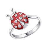 SOKOLOV - Ladybug Girl Ring, Sterling Silver With Red Enamel And CZ