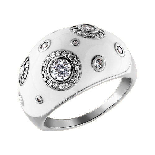SOKOLOV - Thick Dots Ring - Sterling Silver 925 Ring With Enamel And Cubic Zirconia, White