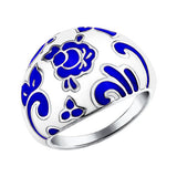 SOKOLOV - Thick Gzhel Design Ring - Sterling Silver 925 With Enamel, White And Blue