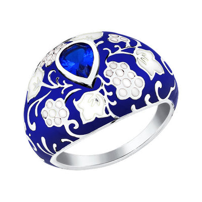 SOKOLOV - A La Russe Wide Ring - Sterling Silver 935 With CZ And Enamel, Blue
