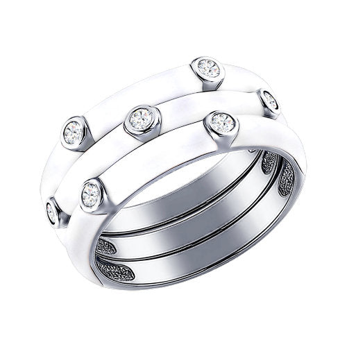 SOKOLOV - 3-In-1 Stackable Ring Set - Sterling Silver 925 With CZ And Enamel, White