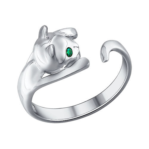 SOKOLOV - Cute Kitten Hug Ring - 925 Sterling Silver With CZ Green Eyes
