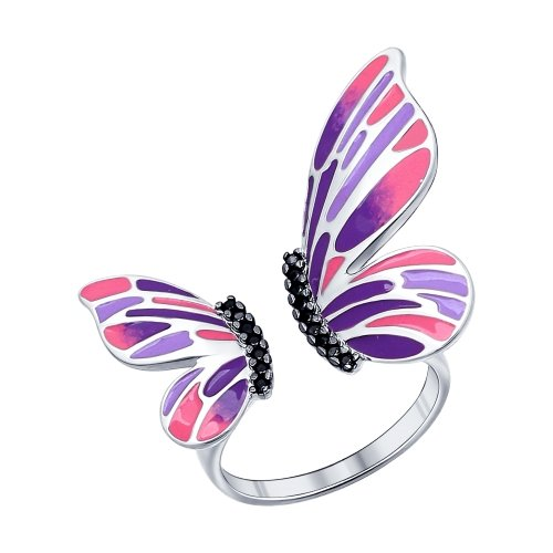 SOKOLOV - Colorful Butterfly Wings Open Ring - Sterling Silver 925 With Enamel, Purple And Pink