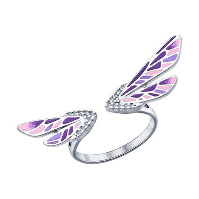 SOKOLOV - Dragonfly Wings Open Ring - Sterling Silver 925 With Enamel And CZ, Purple And Pink