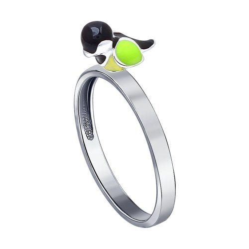 SOKOLOV - Chickadee Bird Ring - Silver 925 With Enamel, Yellow