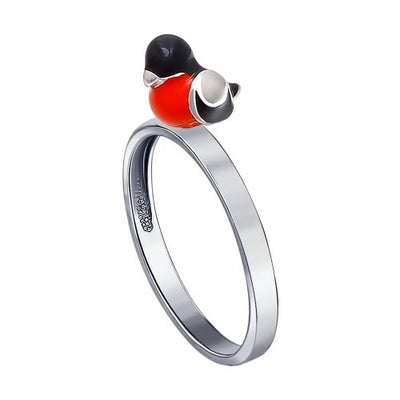 SOKOLOV - Bullfinch Bird Ring - Silver 925 With Enamel, Red