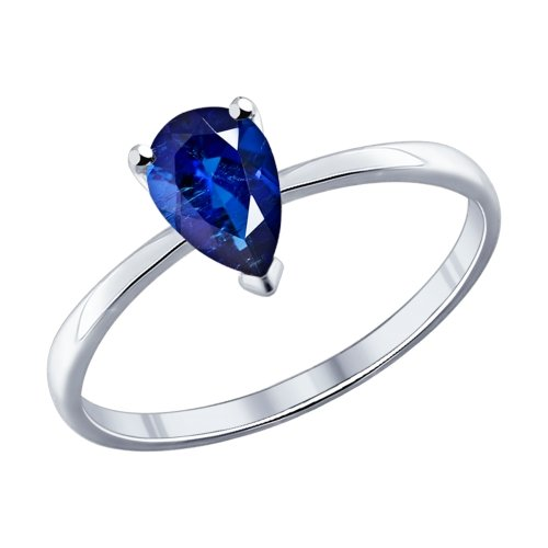SOKOLOV - Simple Band Ring With Phianite - Silver 925, Blue