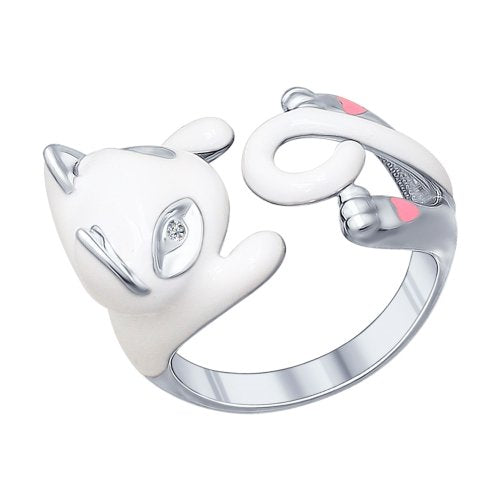 SOKOLOV - White Cat Hug Ring - Sterling Silver 925 With Enamel And CZ, White