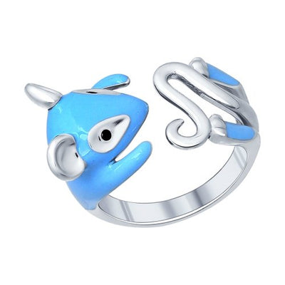SOKOLOV - Mouse Hug Ring - Sterling Silver 925 With Enamel And Fianite, Blue