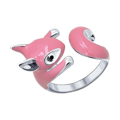 SOKOLOV - Squirrel Hug Ring - Sterling Silver 925 With Enamel And Black Phianite, Pink
