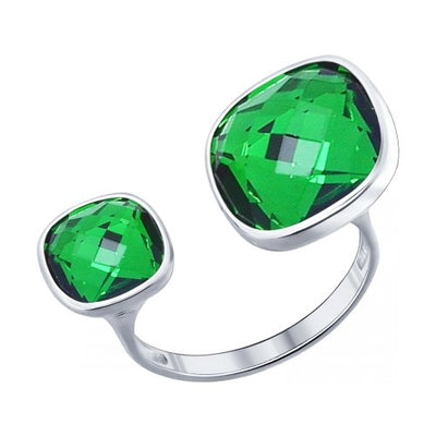 SOKOLOV - Express Yourself Open Ring - Sterling Silver 925 With Swarovski Crystals, Green