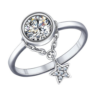 SOKOLOV - Round Phianite Silver Ring With A Star Pendant On A Chain