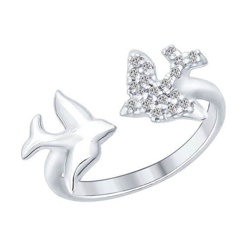 SOKOLOV - Doves Open Ring - Silver 925 With Clear CZ