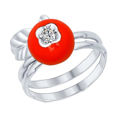 SOKOLOV - 2-In-1 Stackable Lingonberry  Ring - 925 Silver With Enamel And CZ, Blue