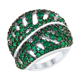 SOKOLOV - Leaves Ring - Silver With CZ, Green