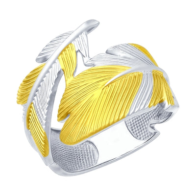 SOKOLOV - Feather Ring Golden Plated Silver