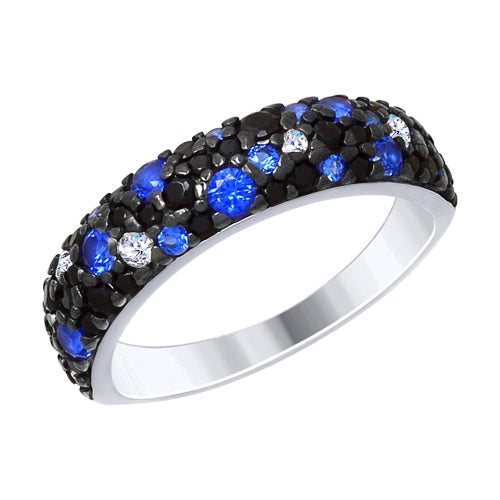 SOKOLOV - 925 Silver Ring With Black White And Blue Phianites