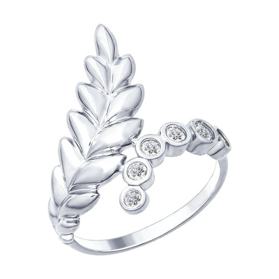 SOKOLOV - Sterling Silver Leaves Ring With Cubic Zirconia