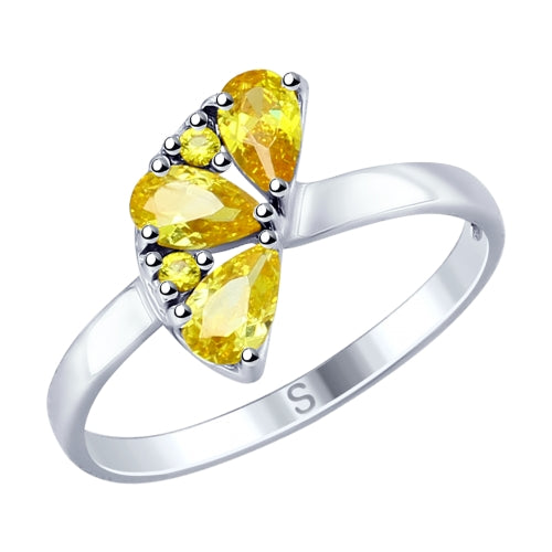 SOKOLOV - Orange Slice 925 Silver Ring With CZ- Fall Harvest Collection