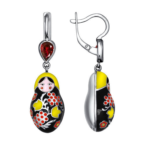 SOKOLOV - 925 Silver Matryoshka Earrings With Khokhloma Styled Enamel, Red And Yellow
