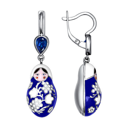 SOKOLOV - Traditional Russian Nesting Doll Matreshka Earrings - Silver With Enamel And CZ, Dark Blue