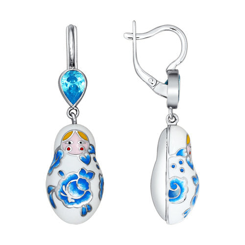 SOKOLOV - Traditional Russian Nesting Doll Matreshka Earrings - Silver With Enamel And CZ, White And Blue