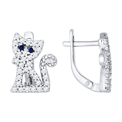 SOKOLOV - Happy Cats Earrings - Silver 925 With CZ
