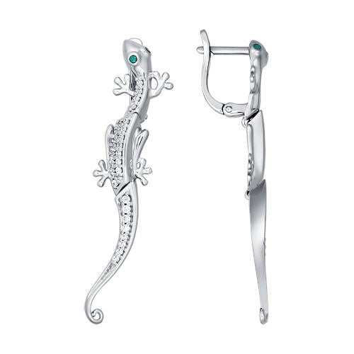 SOKOLOV - Dangle Lizard Earrings - Silver 925 With CZ, Green