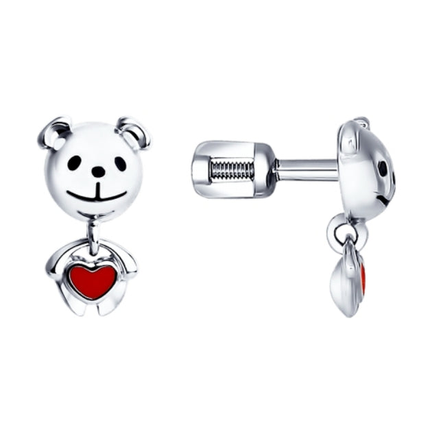 SOKOLOV - Kids Cute Bear Earrings - Silver 925 With Red Heart Enamel