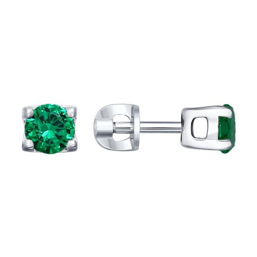 SOKOLOV - Silver Stud Earrings With Phianites, Green