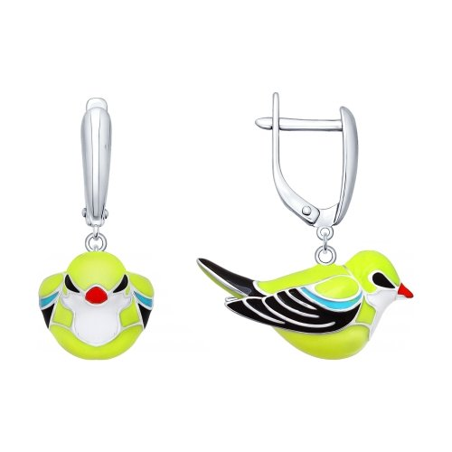 SOKOLOV - Oriolidae Birds Earrings Silver And Enamel, Yellow