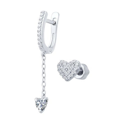SOKOLOV - Unpaired Heart Earing - Silver 925 With Clear Heart CZ