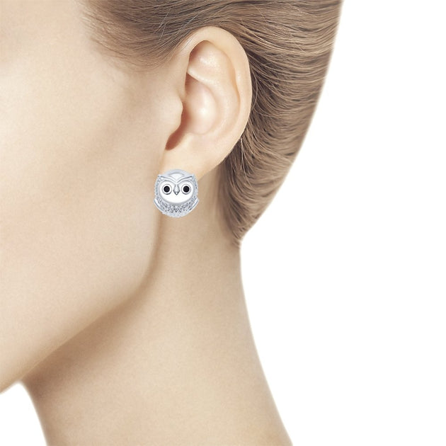 SOKOLOV - Baby Owls Earrings, Silver With Phianites