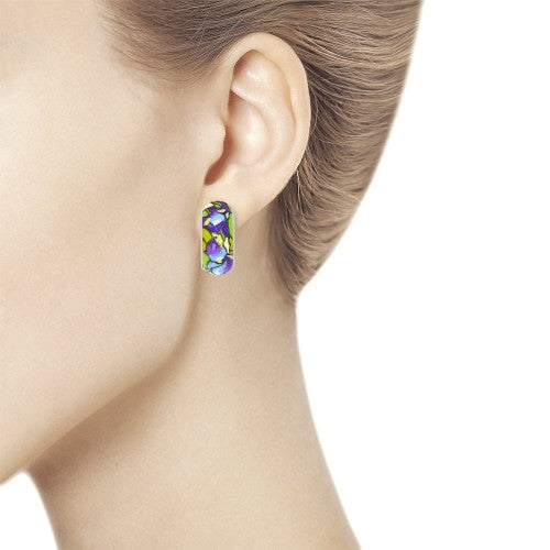 SOKOLOV - Van Gogh Iris Earrings - Silver With Enamel, Multicolor