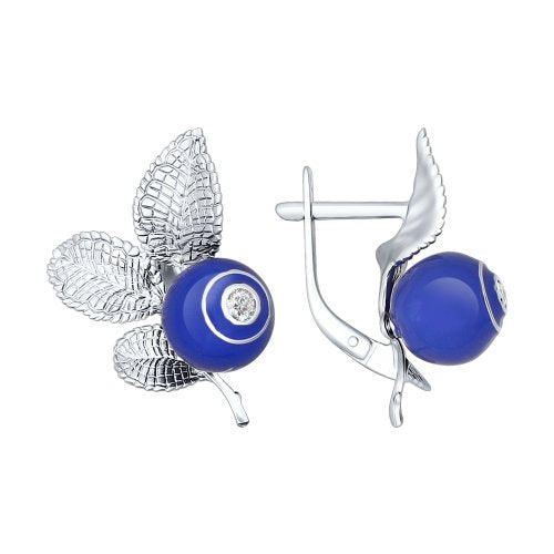 SOKOLOV - Blueberry Earrings - Sterling Silver 925 With Enamel And CZ, Blue