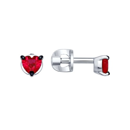 SOKOLOV - Heart Stud Earrings - Silver 925 With Corundum CZ, Red