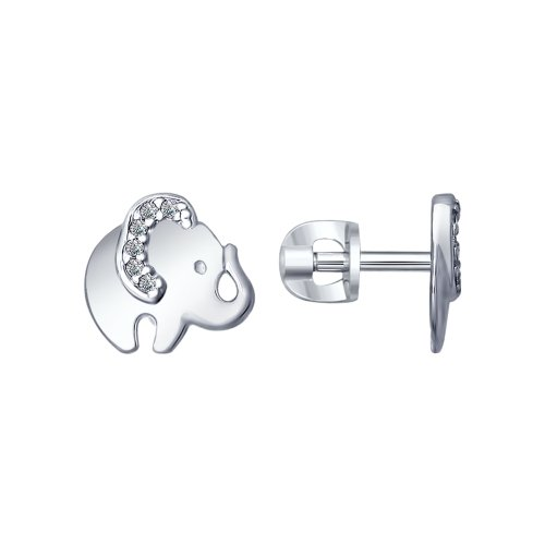 SOKOLOV - Baby Elephant Silver Stud Earrings, With CZ