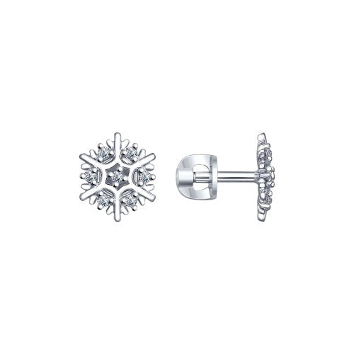 SOKOLOV - Silver Snowflake Stud Earrings With CZ