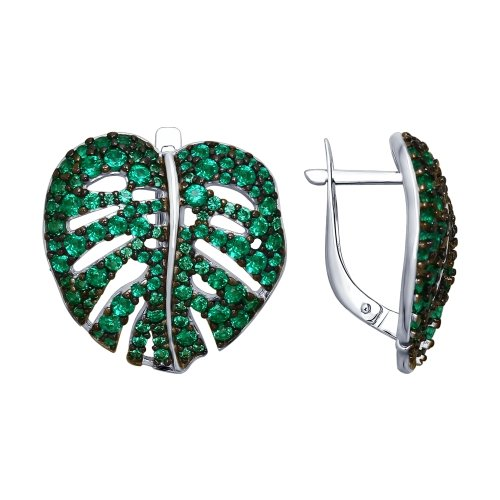 SOKOLOV - Leaves Earrings - Silver With Cubic Zirconia, Green