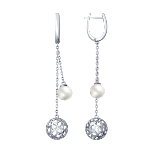 SOKOLOV - Sterling Silver Stars Sphere Drop Earrings With Swarovski Pearl, Night Stars Collection