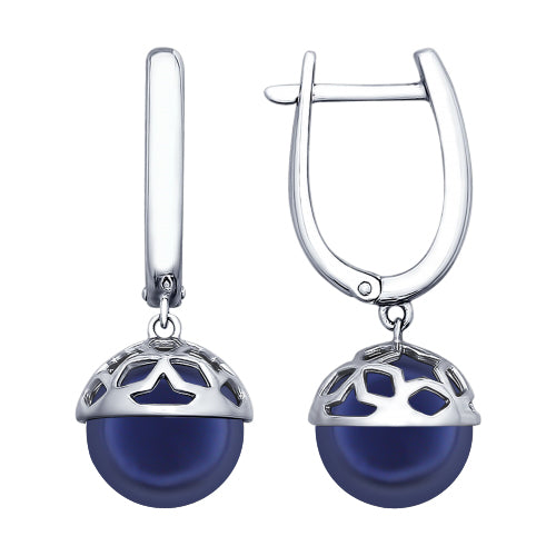 SOKOLOV - Sterling Silver Stars Earrings With Swarovski Dark Blue Pearl, Night Stars Collection