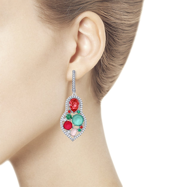 SOKOLOV - Silver Matreshka Earrings With Pastel Swarovski Crystals And Phianites
