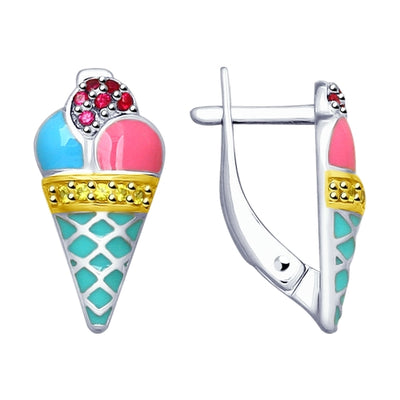 SOKOLOV - Ice Cream Sterling Silver Kids Earrings With Enamel And CZ
