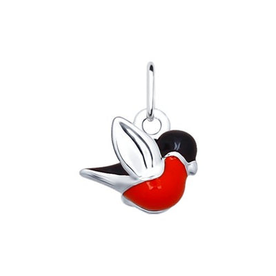 SOKOLOV - Bullfinch Bird Charm - Silver 925 With Enamel, Red