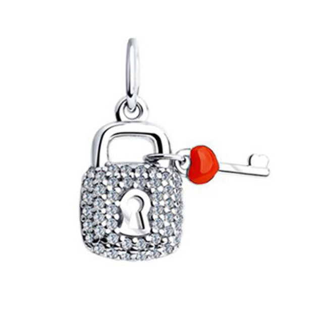 SOKOLOV - Key And Lock Pendant - Silver 925 With Enamel And CZ, Red