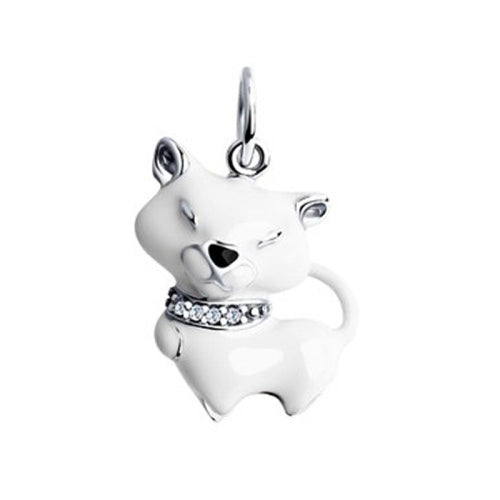 cat charm for chain cute white kitten pendant
