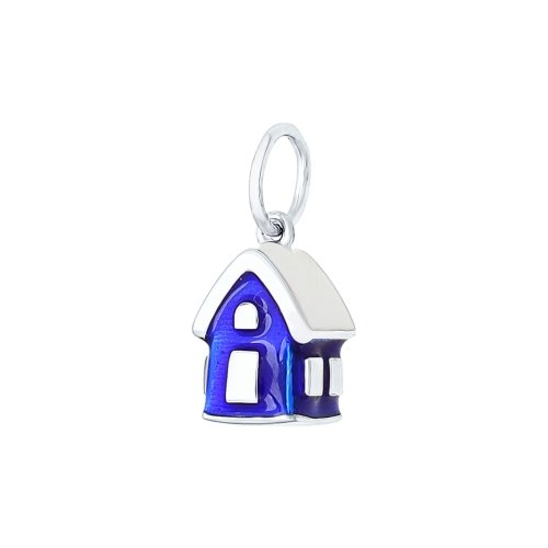 SOKOLOV - 925 Silver Winter Forest House Charm, Blue Enamel
