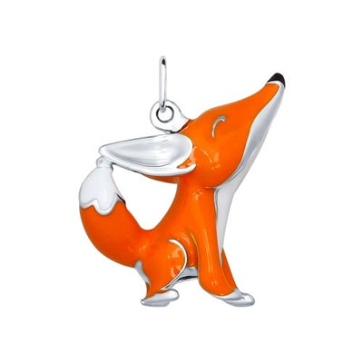 SOKOLOV - Happy Fox Pendant - Silver 925 With Enamel, Orange