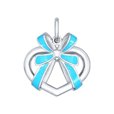 SOKOLOV - Heart And Ribbon Pendant - Sterling Silver 925 With Enamel, Blue