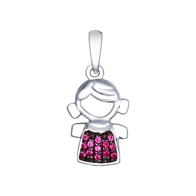 SOKOLOV - Little Girl Charm - Sterling Silver 925 With CZ, Dark Pink